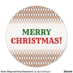 Rustic Beige and Gray Diamond Shape Pattern Classic Round Sticker Christmas Stickers, Christmas Themes, Merry Christmas, Beige, Gray, Rustic Design, Diamond Pattern, Shape Patterns, Round Stickers