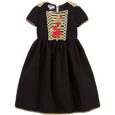 Graci Girls Black & Gold Dress  at Childrensalon.com