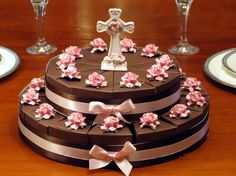 BAPTISM CHRISTENING COMMUNION chocolate favor cake by shadow090109, $125.00 Christening Centerpieces, Cake Centerpieces, Christening Favors, Party Cakes, Party Favors, Wedding Cake Boxes, Communion Cakes, Communion Dresses, Chocolate Favors