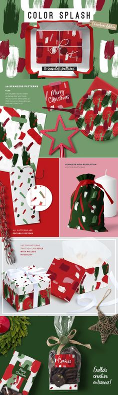 Color Splash Patterns - Xmas Edition by Youandigraphics on @creativemarket