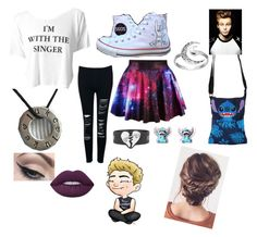 """Meg Concert"" by stylerofstyles ❤ liked on Polyvore featuring Disney, Converse, Primrose, Mehron and Lime Crime"