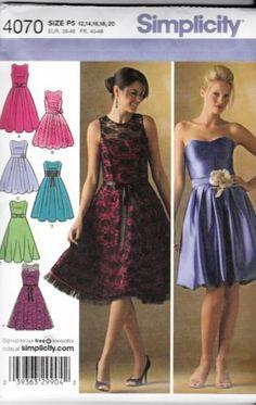 Simplicity New Uncut Sewing Pattern 4070 Prom Wedding Dress Size 12 14 16 18 20 | eBay