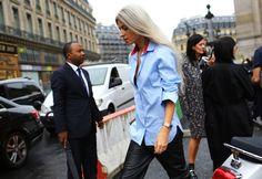 Street Style: Paris Fashion Week Spring 2015, Part 2 – Vogue       red detail on shirt collar