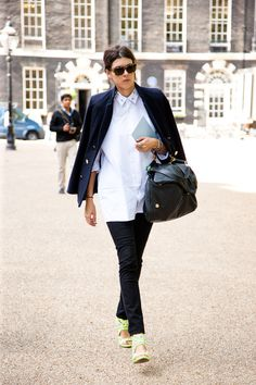 Black and white is a classic, but what if you add fluro statement shoes? Show stopping!