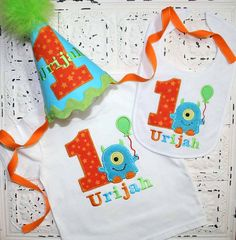 Birthday Set- Hat, Shirt, Bib, M2M Little Blue Monster Birthday Shirt OR bodysuit - FREE PERSONALIZATION-Your Choice of Letters or Numbers