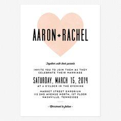Heart in Hand Wedding Invitations www.lovevsdesign.com