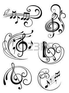 cle de sol: Notes de musique Illustration