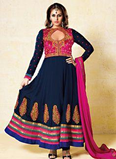 Buy Bollywood Navy Blue Anarkali Shalwar Suit $107.41 . Shop at - bollywood-ankle-length-anarkali.blogspot.co.uk/2014/05/buy-bollywood-navy-blue-anarkali.html
