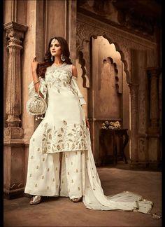 White Sharara Suit shoulder cut designer sleeves for partywear Latest Salwar Kameez Designs, Sharara Designs, Designer Salwar Suits, Designer Dresses, Indian Dresses, Indian Outfits, Pakistani Dresses, Plazzo Suits, Pant Suits