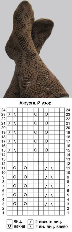 НОСКИ. Постила Knitting Stiches, Knitting Charts, Lace Knitting, Knitting Socks, Knitting Patterns, Knit Lace, Lace Socks, Crochet Socks, Knitted Slippers
