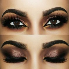 Mesmerizing brown & gold smokey eye look by @arabbarbie18 using motivescosmetics for eyeshadow and morphebrushes for the brows by anastasiabeverlyhills, lashes by luxiebeauty