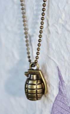 3D Antiqued Bronze Petite Grenade Charm Pendant w/ Choice of Ball Chain or Chain Link Necklace
