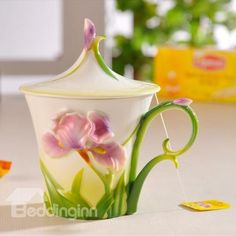 Gorgeous Porcelain Purple Irises Mug with Flower Lid