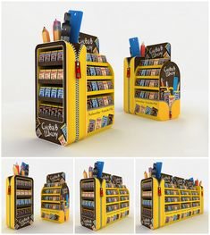 Mars Back-to-School display on Behance. Shop Display Stands, Pos Display, Display Design, Store Design, Merchandising Displays, Store Displays, Retail Displays, Back To School Displays, Pallet Display