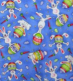 Easter-Theme-Scrub-Top-Womens-Small-White-Cross-Print-Bunny-Eggs-Carrots-on-Blue