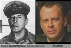 Celebrities that look like Historical Figures ~ Bruce Willis General Douglas MacArthur Douglas Macarthur, Bruce Willis, Celebrity Twins, Celebrity Look Alike, Celebrity Doppelganger, Celebrity Faces, Celebrity News, Nicolas Cage, John Travolta