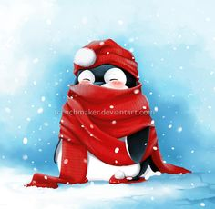 Am I the only one having cold fingers while painting? Not So Cold Anymore Pinguin Illustration, Illustration Noel, Christmas Illustration, Illustrations, Penguin Art, Penguin Love, Cute Penguins, Noel Christmas, Christmas Pictures