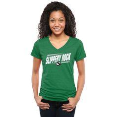 Slippery Rock Pride Women's Double Bar Tri-Blend V-Neck T-Shirt - Green