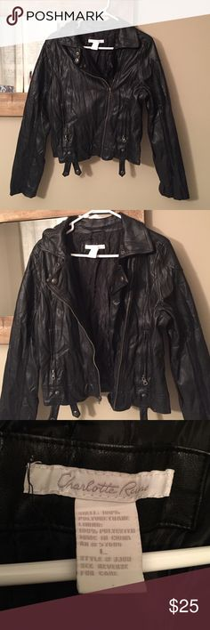"Charlotte Russe Moto jacket Charlotte Russe ""leather style"" Moto jacket. Made of polyurethane/polyester  with a wrinkled edgy look. Zippers at the wrists. No tags but never worn! Charlotte Russe Jackets & Coats"