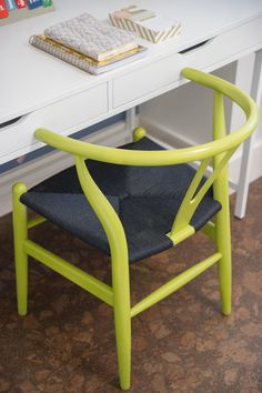 Lime Green Desk Chair in Blog Cabin's Guest Bedroom