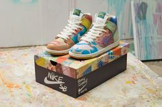 """For its latest issue of the """"What The"""" themed Nike SB Dunk High, Nike Skateboarding teams up with multimedia artist Thomas Campbell, wh. Nike Free Shoes, Nike Shoes, Limited Edition Trainers, Nike Skateboarding, Sneaker Bar, Nike Outfits, Workout Outfits, Winter Outfits, Summer Outfits"""