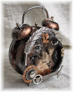 Scrapbook Dreams: Assemblage Clock Dw-I like the embossing on the bells Altered Tins, Altered Art, Pocket Watch Art, Timmy Time, Clock Craft, Vintage Alarm Clocks, Cool Clocks, Assemblage Art, Alters