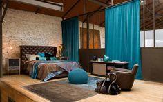 schlafzimmer design braun & türkis