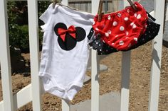 Minnie  Mouse Onesie Set in Red and Black by SweetnChicBoutiques, $18.00