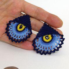 Crochet earrings - Summer earrings - Dangle earrings - Blue and dark blue - Luck…