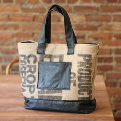 repurposed vintage leather and coffee bean burlap tote bag // reMade USA by Shannon South // made in USA #recycled #upcycled #reclaimed