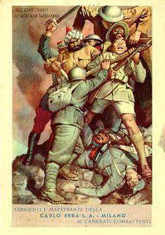 Soldado italiano deteniendo la invasión enemiga.