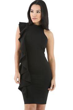 Black Ruffle Trim Body-hugging Sleeveless Mini Dress https://www.modeshe.com #modeshe @modeshe #Black