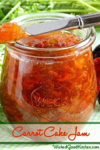 Carrot Cake Jam by WickedGoodKitchen.com ~ Luscious, naturally sweetened and packed with flavor from fresh carrots, pineapple, coconut and spices, with a hint of molasses, this jam tastes just like carrot cake! Perfect to spread on biscuits, breads, muffins and scones for Easter brunch. #diy #canning #preserving #recipe
