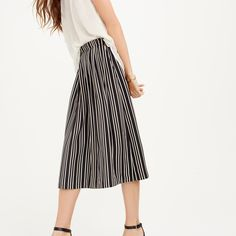 Pleated midi skirt in triple stripe : A-line/Midi | J.Crew