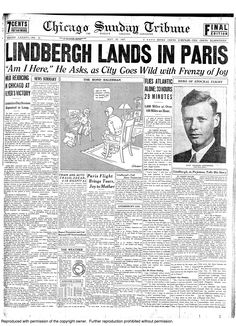 Charles Lindbergh crosses the Atlantic in 33 hours, 1927.