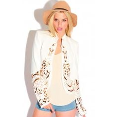 White Blazer Style Jacket With Gold Embellishment Detail & Cut Outs  This classic style blazer is a great piece that will see you through every season!  ♥ Blazer ♥ 90% Polyviscose / 10% Viscose