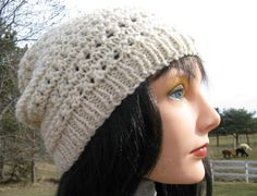 Hand Knit Alpaca Wool Hat, White Cap, Womens Beanie, Teen Hat,  Beach Hat by NorthStarAlpacas on Etsy
