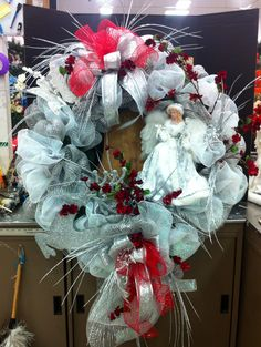 "36"" silver/white Angel wreath..by Norma Gordon"