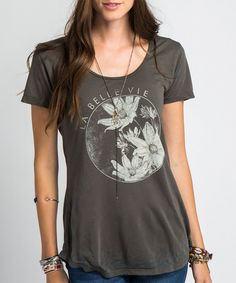 Look at this Black Lux Floral Tee on #zulily today!
