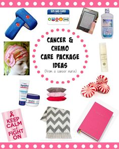 Cancer and Chemo Care Package Ideas (from an oncology nurse and cancer patients and parents); some are gifts of time and service, some are tangible--all are useful and practical and will bless anyone who's fighting rotten cancer.