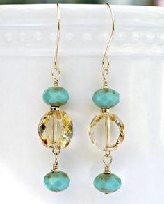 Czech amber translucent glass drop earrings by FantabulousJewelz