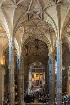 Nave, Church of Santa Maria, Mosteiro dos Jeronimos, Belem, Lisbon