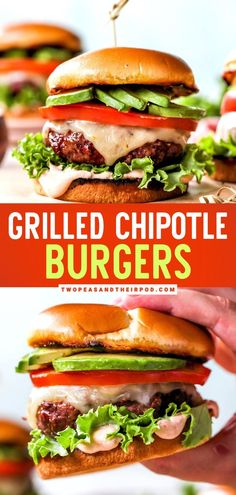 Guaranteed to be everyone's new favorite grilling idea for dinner! Chipotle Burgers are served on a bun and topped with avocado, cheese, and a special chipotle sauce. This Memorial day food idea is… Fun Easy Recipes, Healthy Dinner Recipes, Easy Meals, Delicious Recipes, Barbecue Recipes, Burger Recipes, Grilling Recipes, Summer Burgers, Memorial Day Foods