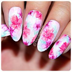 watercolour flower nails - Google Search
