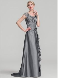 A-Line/Princess Scoop Neck Sweep Train Taffeta Sequined Mother of the Bride Dress With Beading Flower(s) Sequins Cascading Ruffles (008107640) - Mother of the Bride Dresses - JJsHouse