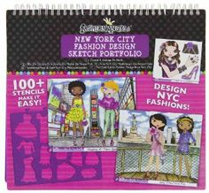 Fashion Angels Fashion Design New York City Sketch Portfolio by Fashion Angels. $19.97. Makes great gift. Great activity for kisds party or when you are on the road.. Fashion design sketch portfolio with a New York City theme. Age 6+. Design fashions, handbags, accessories, shoes and more for all of your New York City destinations. There are 7 page styles so you can sketch a trendy outfit for shopping at Times Square, a ferry ride on a Sunday afternoon, or accessories to wea...