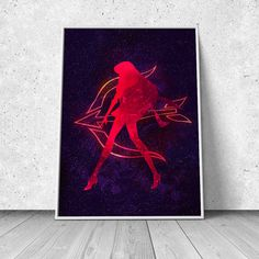 Rei Hino, Sailor Mars, Sailor Moon inspired, watercolor illustration, giclee art print, silhouette, anime, wall decor