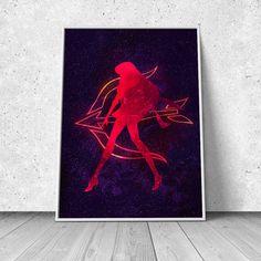 Rei Hino, Sailor Mars, Sailor Moon inspired, watercolor illustration, giclee art print, silhouette, anime, wall decor
