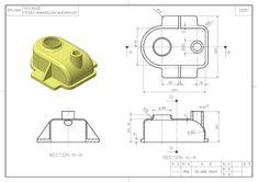 스터디캐드캠 (STUDYCADCAM) Mechanical Engineering Design, Mechanical Design, Orthographic Drawing, Orthographic Projection, Autocad 3d Modeling, Autocad Isometric Drawing, Cad Computer, Youtube Drawing, 3d Drawings