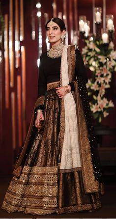 Find the latest Bollywood celebrity inspired lehenga designs for weddings. Check Lehenga designs worn by Alia Bhatt, Katrina Kaif, Shradhha Kapoor. Pakistani Wedding Outfits, Bridal Outfits, Pakistani Dresses, Indian Dresses, Indian Outfits, Indian Lehenga, Black Lehenga, Sabhyasachi Lehenga, Brocade Lehenga